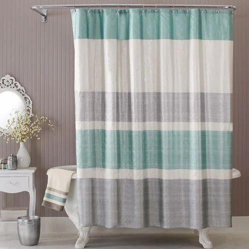 Conta Plain Printed Hook Less Shower Curtain