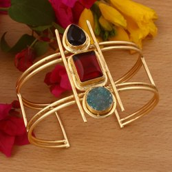 Golden Party Wear Gold Plated Brass Bangle