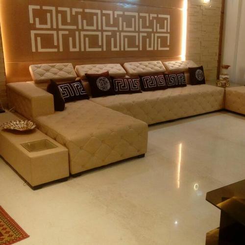 Brown L Shape Designer Sofa Set