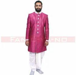 Dark Pink Indo Western With White Dhoti