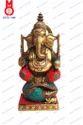Shankh W/ Stone Work Lord Ganesh Sitting Statue