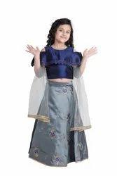 Silk Designer Adiva Girls Party Wear Lehenga Choli Set For Kids