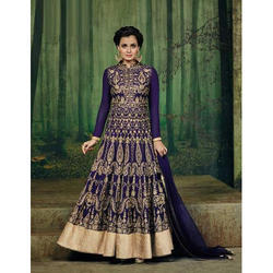 Blue Silk Anarkali Dress