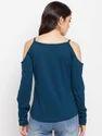 Women's Full Sleeves V-neck Cut Shoulders 100% Cotton T-shirt