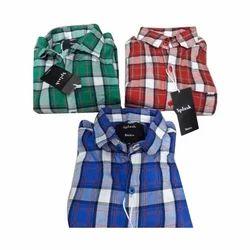 Mens Cotton Fancy Check Shirt, Size: M, L & XL