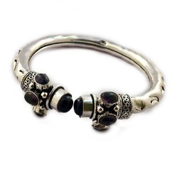Silver Plated Stone Bangle
