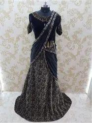 Women Dark Blue Ready to Wear Saree