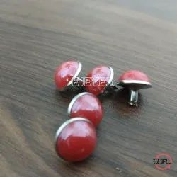 12mm Brass & Stone Dome Pearl Rivets Red