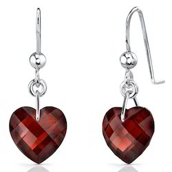 Sterling Silver Earrings In Garnet Tops