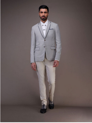 Cashmere Light Grey Houndstooth Jacket With Lapel Detailing