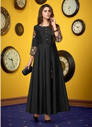 Hand Work Party Wear Silk Kurtis