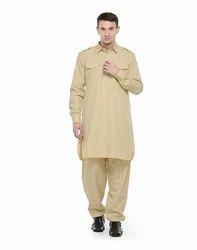 7d05ace1ee Kkhaki Cotton/Linen RG Designers (Khaki) Pathani Kurta Salwar Set ...