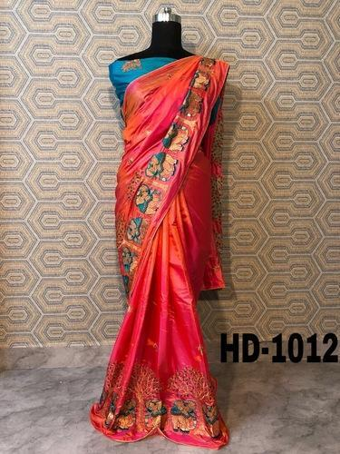 ffdcd5bb97ebd Paper Silk Gajri Color Saree With Elephant Embroidery And Beautiful Colors