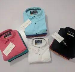 Collar Neck Long Sleeve Mens Plain Cotton Shirts