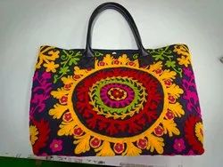 Multicolor Embroidered Handmade Suzani Hand Bags, Size: Large