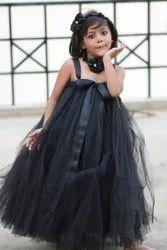 Nia's Black Color Kids Designer Flared Gown Tutu Dress
