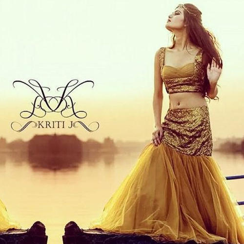 5c1e39ae7ae255 Golden Gold Fish Cut Lehenga, Rs 5000 /piece, Kriti Boutique | ID ...