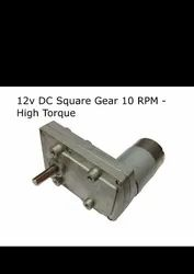 12v DC Square Gear / Geared Motor 10 RPM - High Torque