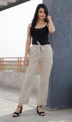 D To D Linen Pants In Light Colours, Waist Size: 30