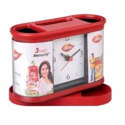 Plastic Table Clocks Cum Pen Stand