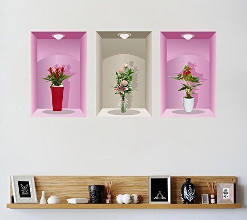 multicolor decor kafe 3 pieces 3d beautiful decal flower pot design