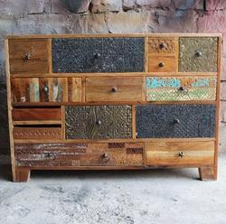 Brown Vintage Antique Reclaimed Wood Chest Drawer, For Home