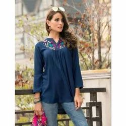 Ladies Casual Rayon Embroidered Top