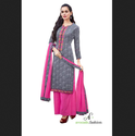 Cotton Pink/gray Pink Designer Embroidery Salwar Suits
