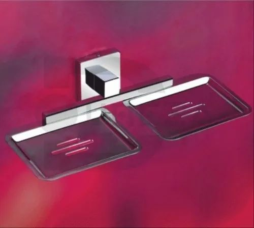Stainless Steel Bathroom Fittings Double Soap Dish, Shape: Square, Model Name/Number: Amazon