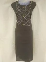 Grey Embroidered D No.0001, Kathleen, Pure Satin Cotton Anker Work Dress Materials, Size: Free