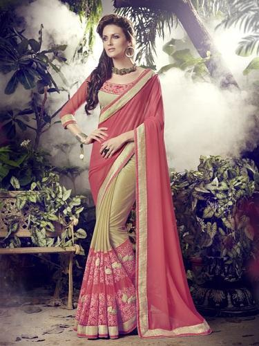 Georgette Women Pink and Beige Color Indian Saree