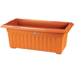 Brown Plastic Rectangle Planter and Plate - 110, Size: 25 X 12 Inch