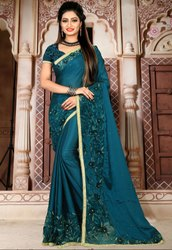 Peacock Blue Embroidered Wedding Wear Saree
