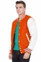 Burnt Orange Body White  Sleeve Varsity Jacket