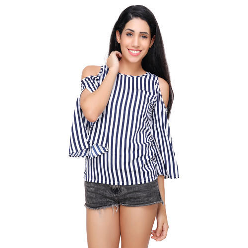 46bd9ce57e4ba3 Navy And White Stripe Crepe Womens Cold Shoulder Tops, Rs 249 /piece ...