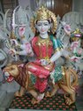 2 Feet Colored Marble Durga Statue