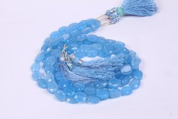 Natural Blue Chalcedony Oval Shape Faceted Beads, Blue Chalcedony Faceted Beads