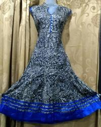 Blue cotton anarkali, Machine wash