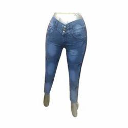 Ladies Blue Plain Denim Jeans