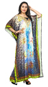 Party Wear Ladies Long 3D Digital Printed Satin Silk Kaftans