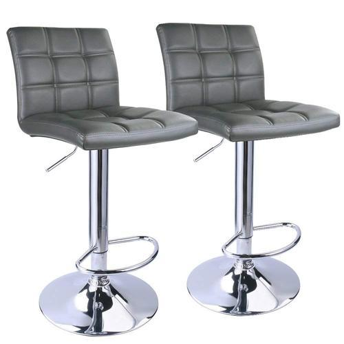 Modern Square Pu Leather Rotatable Adjustable Bar Stools With Back