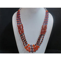 Carnelian & Amethyst Gemstone Beaded Necklace