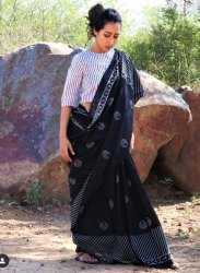 Black And White Hand Printed Cotton Saree