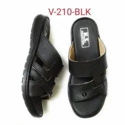 Daily Wear Men Black Leather Slippers