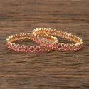 Ruby Cubic Zirconia Gold Plated Cz Classic Bangles 405981