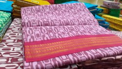 Lenis South Cotton Printed Sungudi Sarees, 6.3 m (with blouse piece)