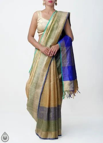 82ddc88fb2 Pure Handloom Weaving Work Muga Tussar Silk Checks Saree With Tassels