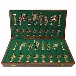 Brass Roman Chess Set with Storage