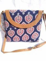Little India Multicolor Kantha Work Batik Print Sling Bag, Size: 9