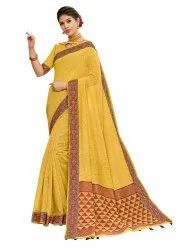 Designer Banarasi Jute Linen Weaving Saree With Blouse Piece
